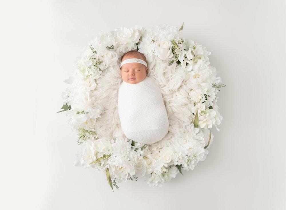 Newborn Girl in Flower Nest