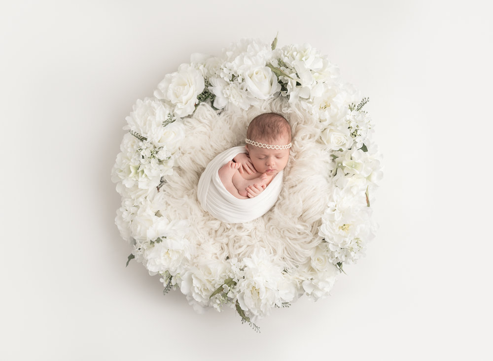 Newborn in Flower Basket