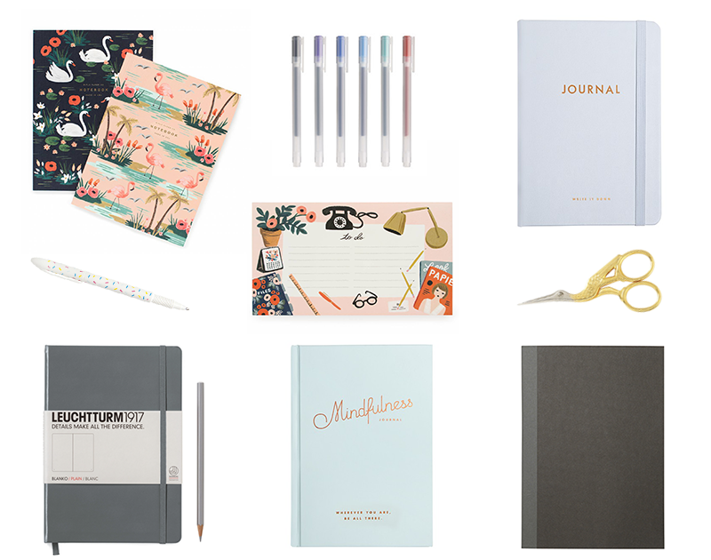 BIRDS OF FEATHER NOTEPADS ,  MUJI PENS ,  KIKKI.K JOURNAL* ,  KIKKI, K SPRINKLES PEN *,  DESKTOP PAD ,  SWAN SCISSORS ,  LEUCHTTURM 1917 ,  MINDFULNESS JOURNAL  AND  MUJI NOTEPAD