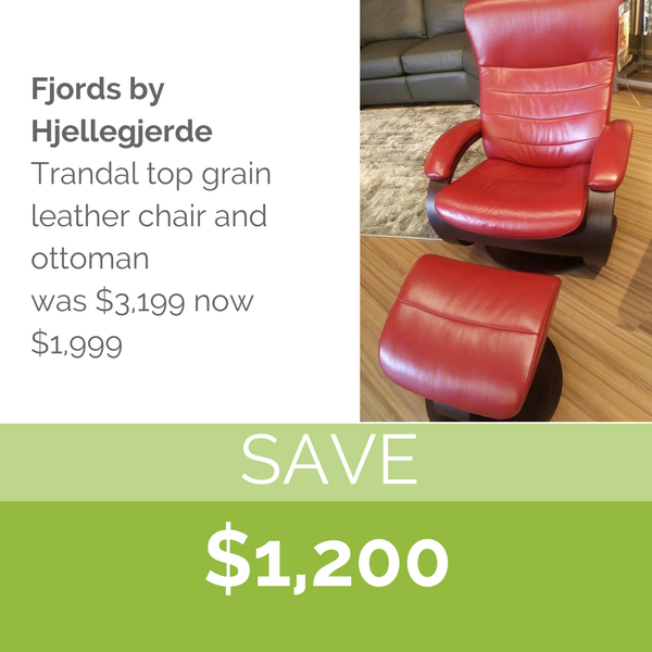 Fjords by Hjellegjerde  Trandal top grain leather chair & ottoman
