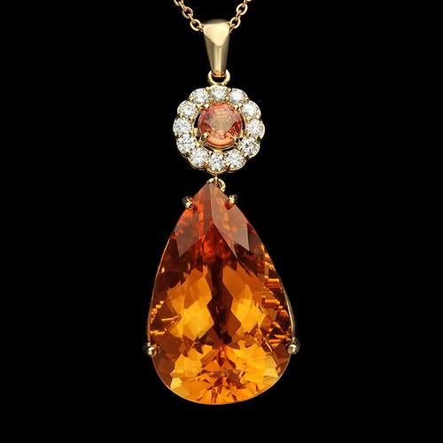 14k gold 4270ct citrine 110ct orange sapphire diamond pendant 14k gold 4270ct citrine 110ct orange sapphire diamond pendant aloadofball Image collections