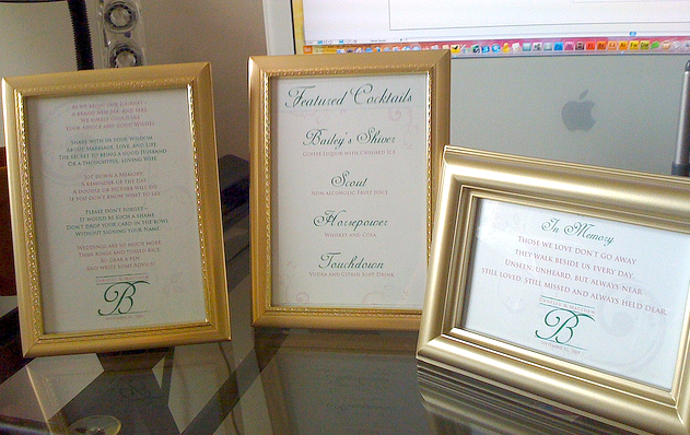 Memory Poem, Custom Drink Menu and Advice Request     We pulled together the event with the same look and feel across the reception with instructions for written advice for the bride and groom, a custom drink menu and a poem for the memory of those who couldn't be there.