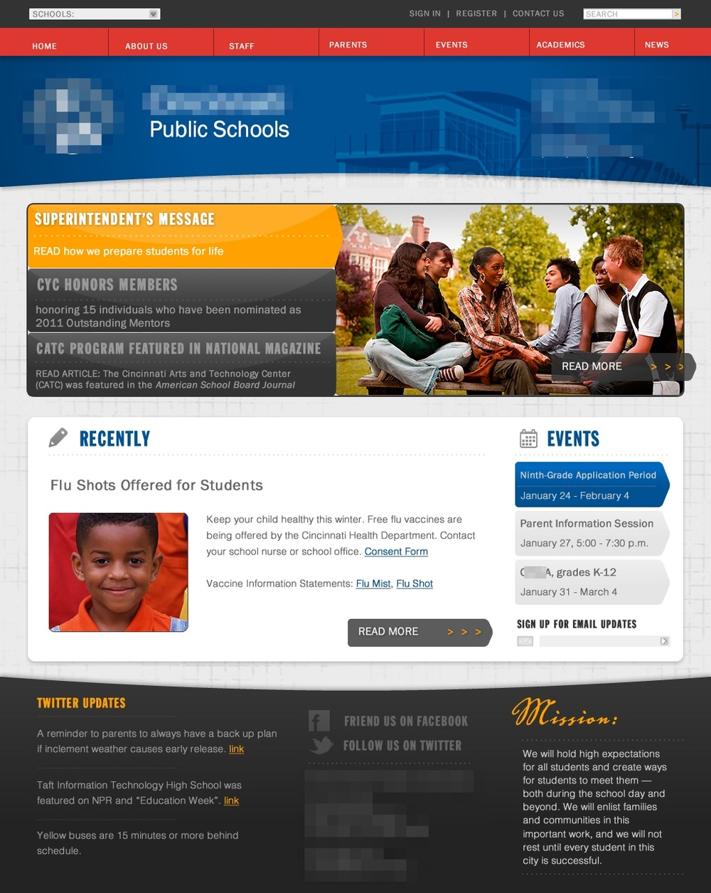 School district website template mockup
