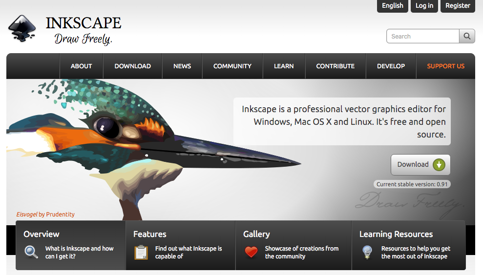 Inkscape  is a professional vector graphics editor for Windows, Mac OS X and Linux. It's free and open source.