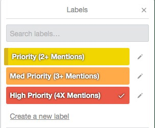 Priority labels in Trello, color coded.
