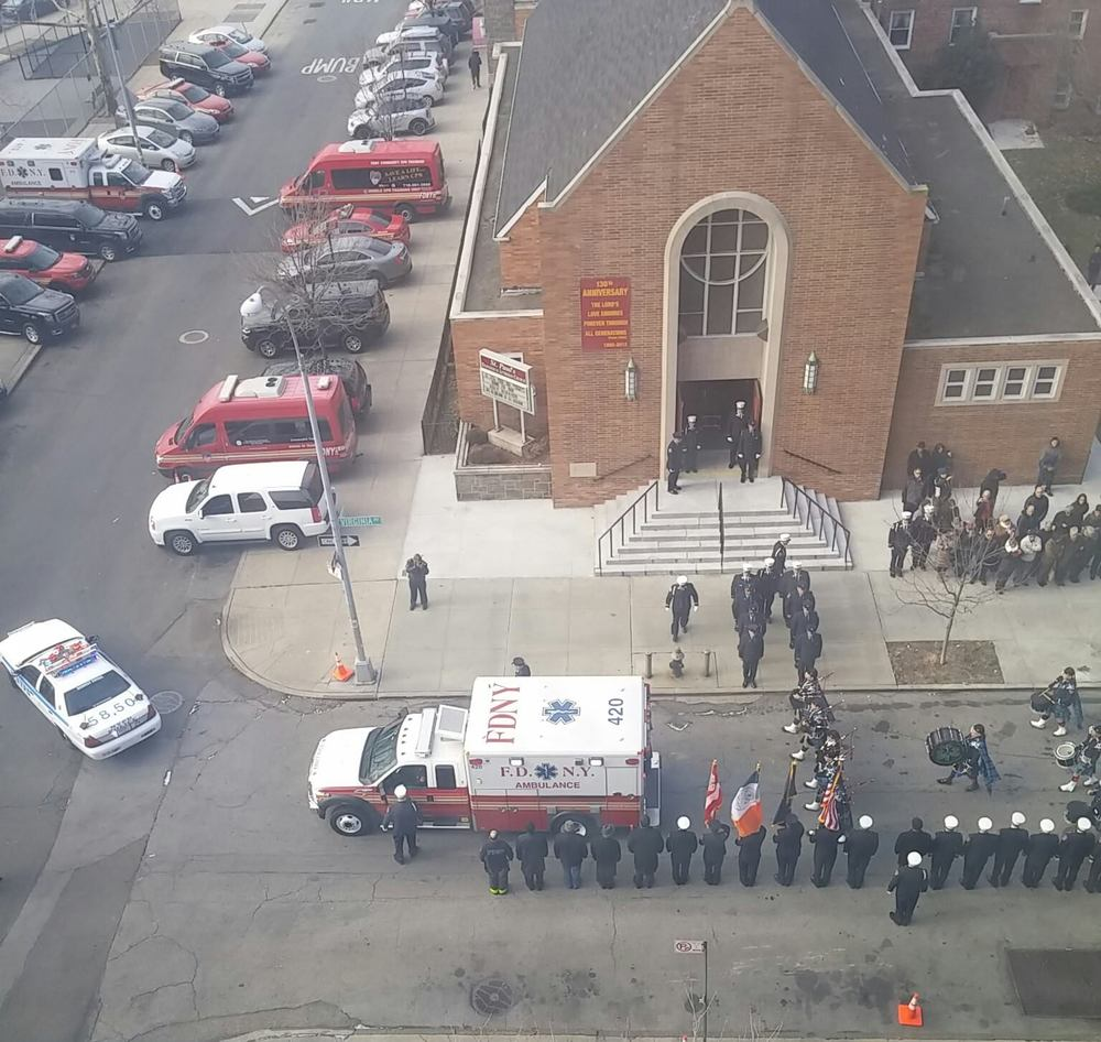 Funeral Service for EMT Valle who died as a result of an illness contracted while operating at Manhattan Box 5-5-8087 World Trade Center on September 11th 2001