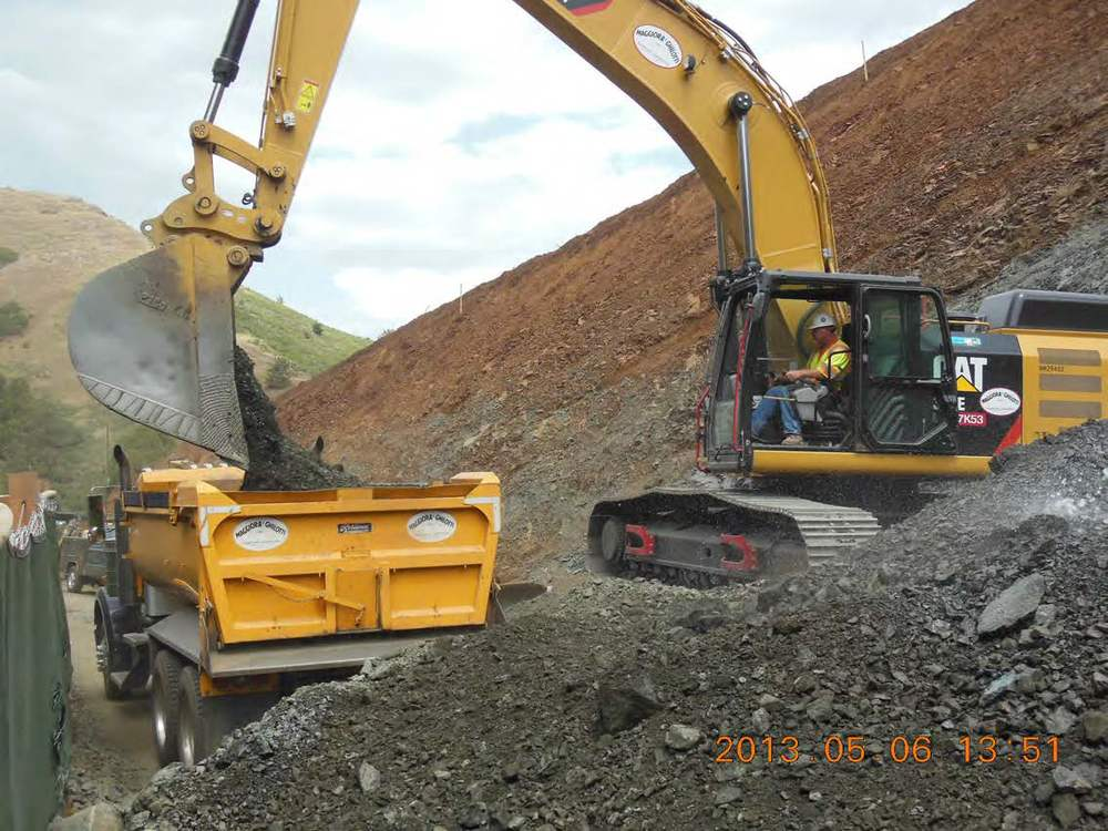 Loading out blue rock from Alexander Cut to be processed onsite for use as Base Rock