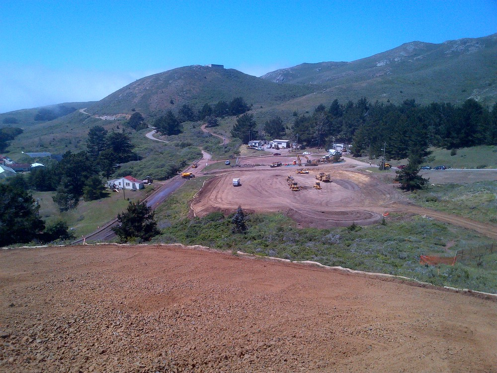 Grading of new Marine Mammal Center Parking Lot from above at Historic Quarry