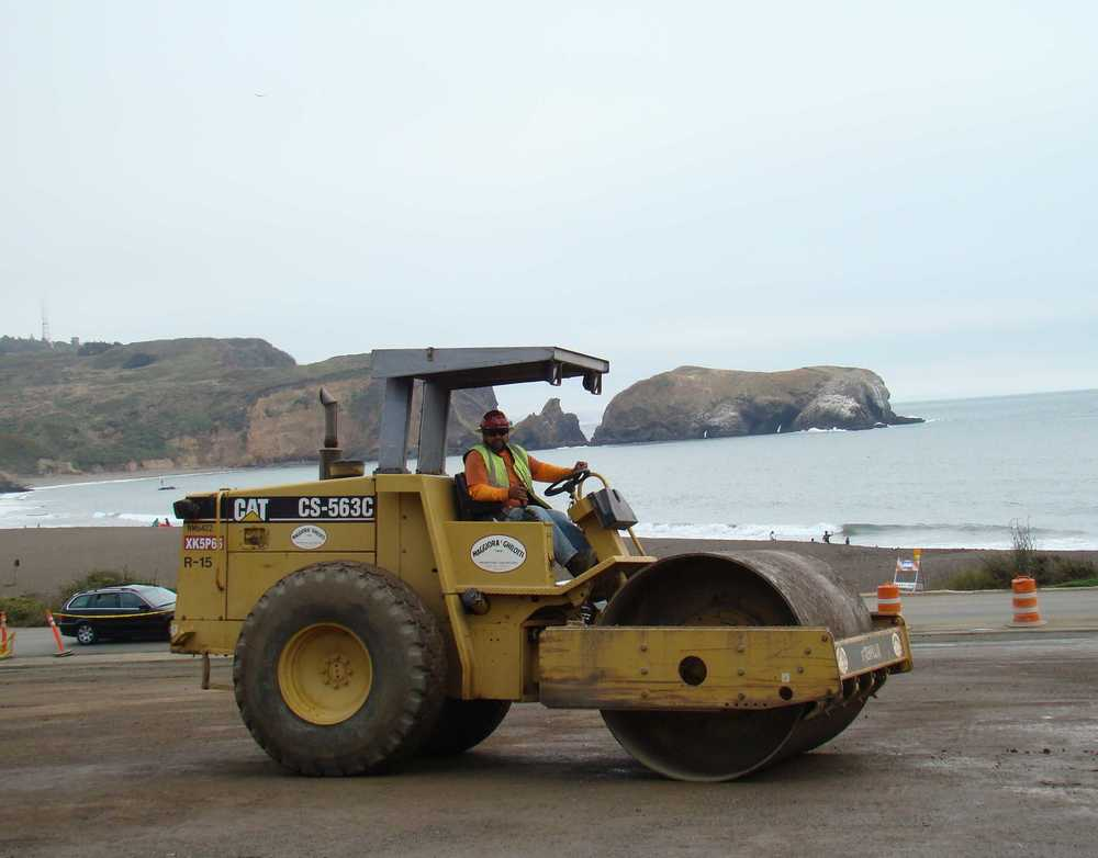 Rolling Rock Base before paving at Rebuilt Rodeo Beach Parking lot