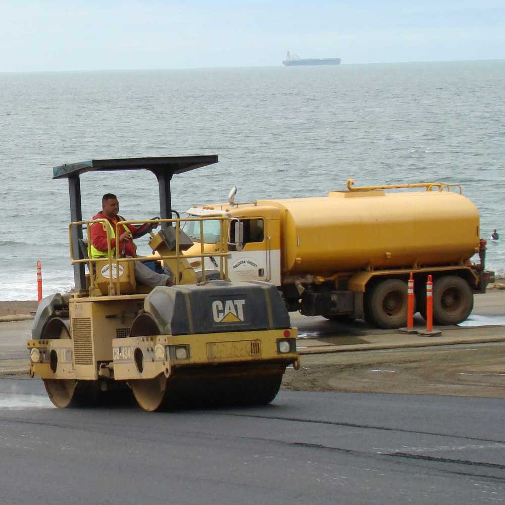 Rolling Asphat Pavement at Rebuilt Rodeo Beach Parking Lot