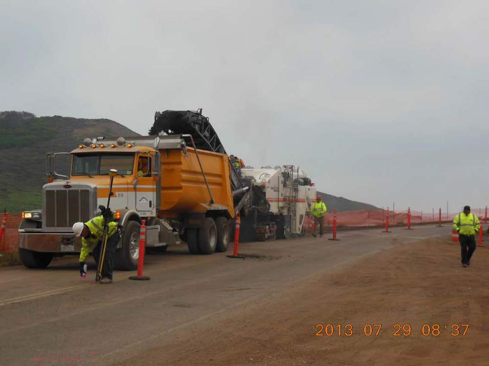 Milling of Bunker Road for Regrading and Paving