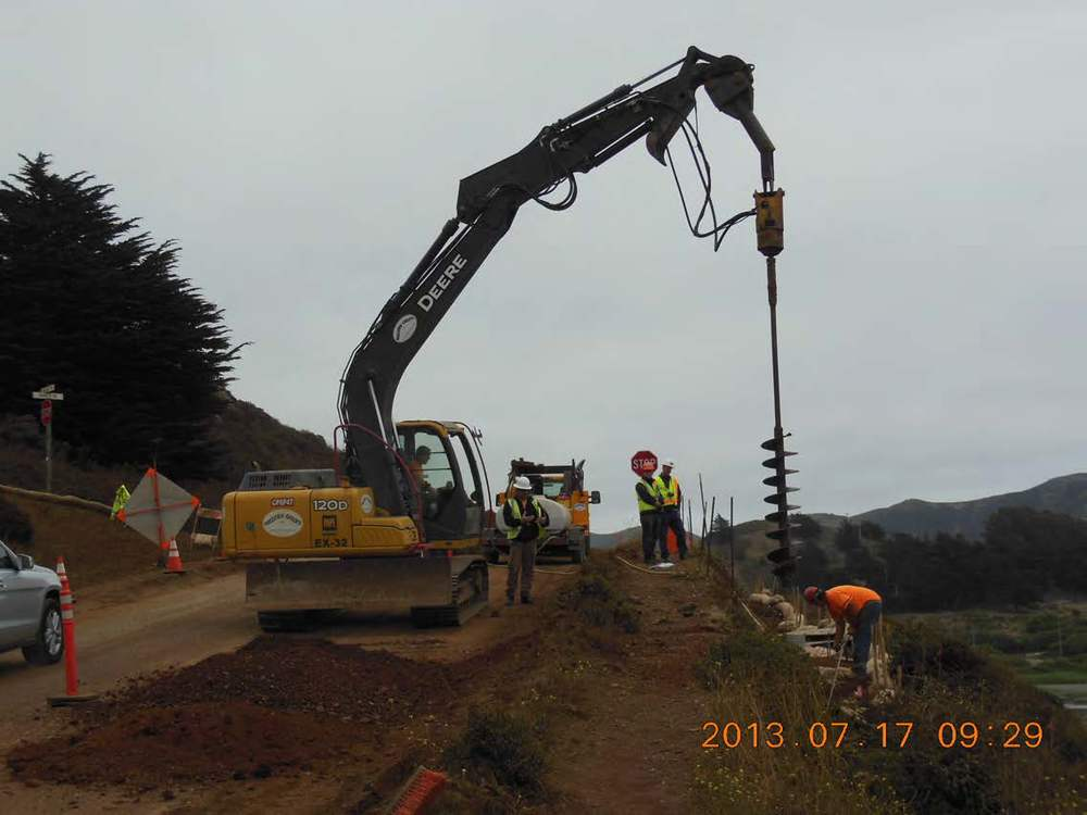 Drilling of Piers for Timer Lagging Wall on Bunker and Mitchell Roads
