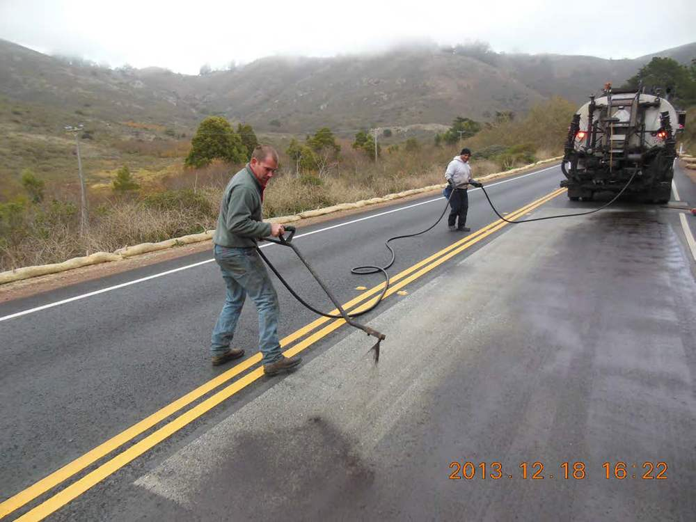 Touching Up Fog Seal on Bunker Road