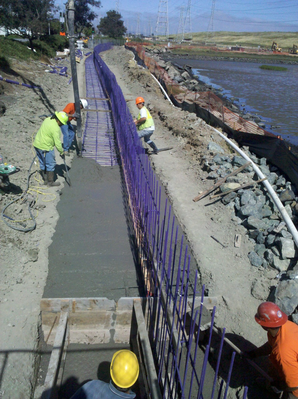 Pouring footing for floodwall at Seal Point Park