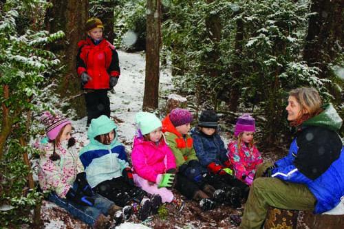 Winter story time at Cedarsong Nature School (Credit: Karen Olsen)