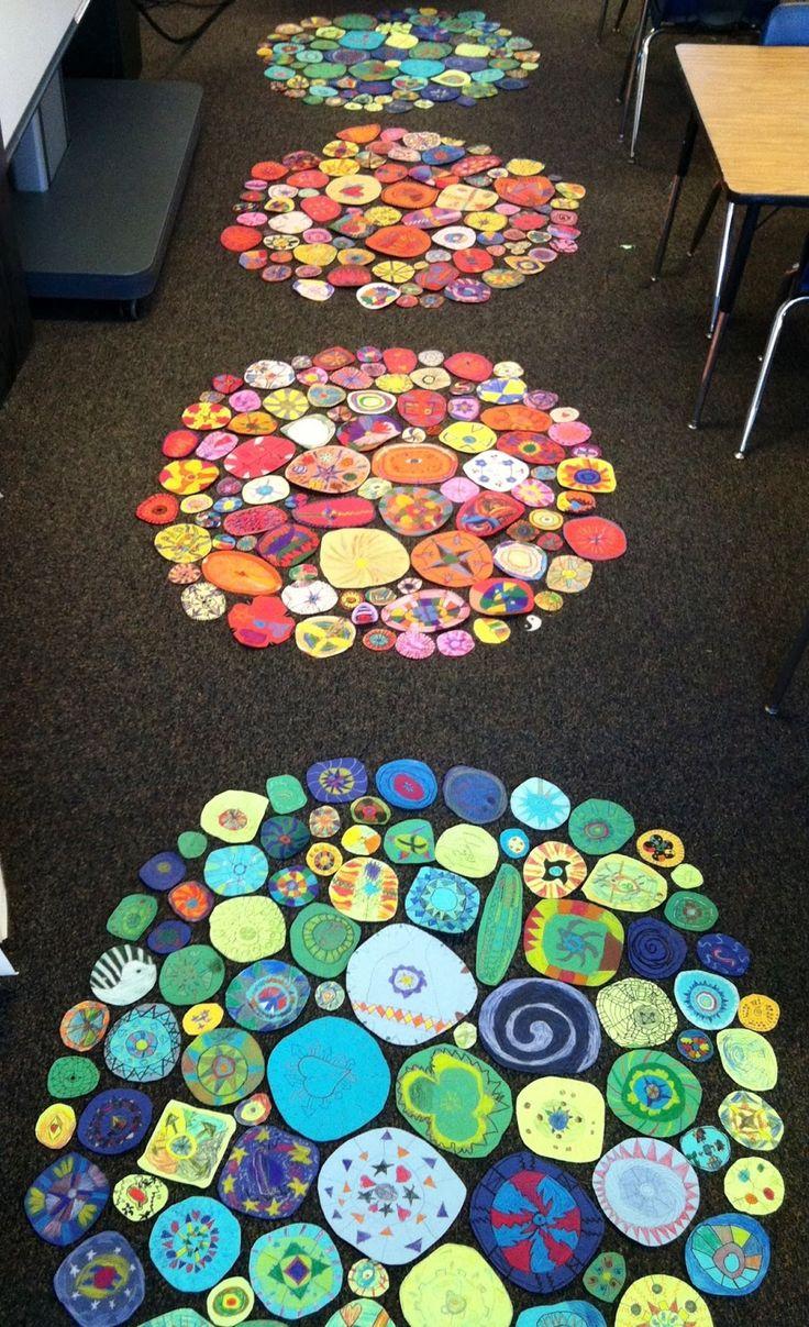 Collaborative Classroom Art Project ~ Collaborative circle art — mountain river school