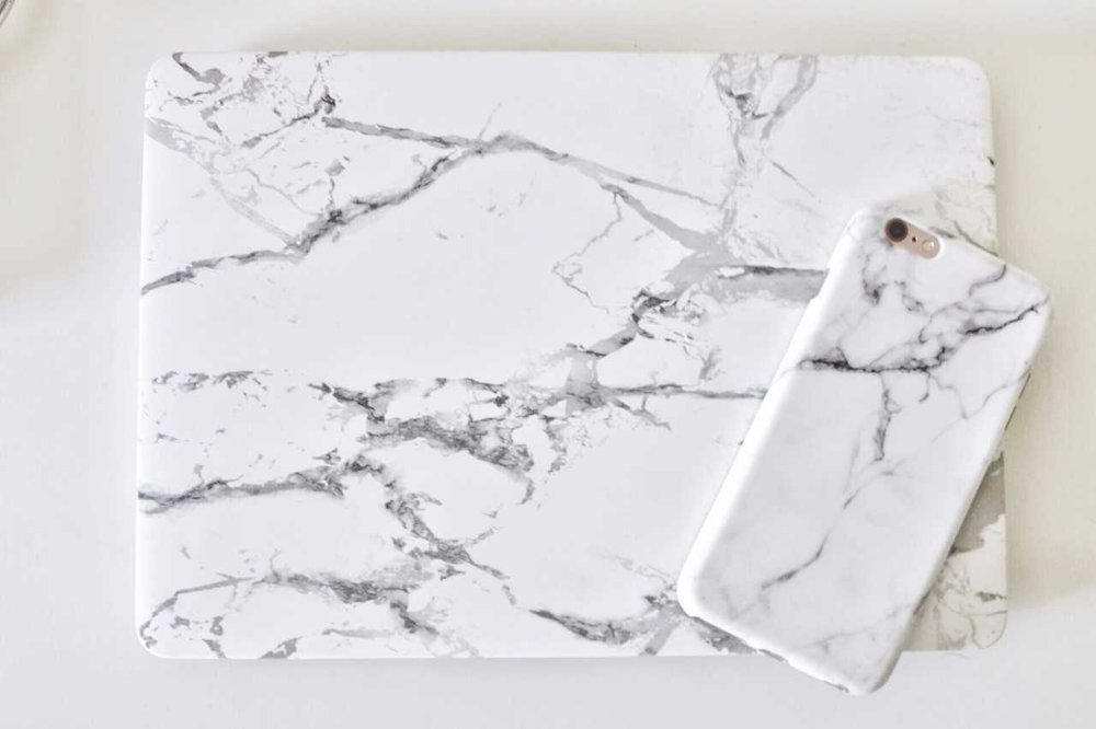 marble iPhone and Macbook Pro case Gina Baran Interiors + Design
