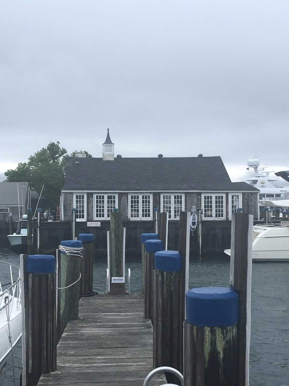 View of Cru Oyster Bar from our boat slip.