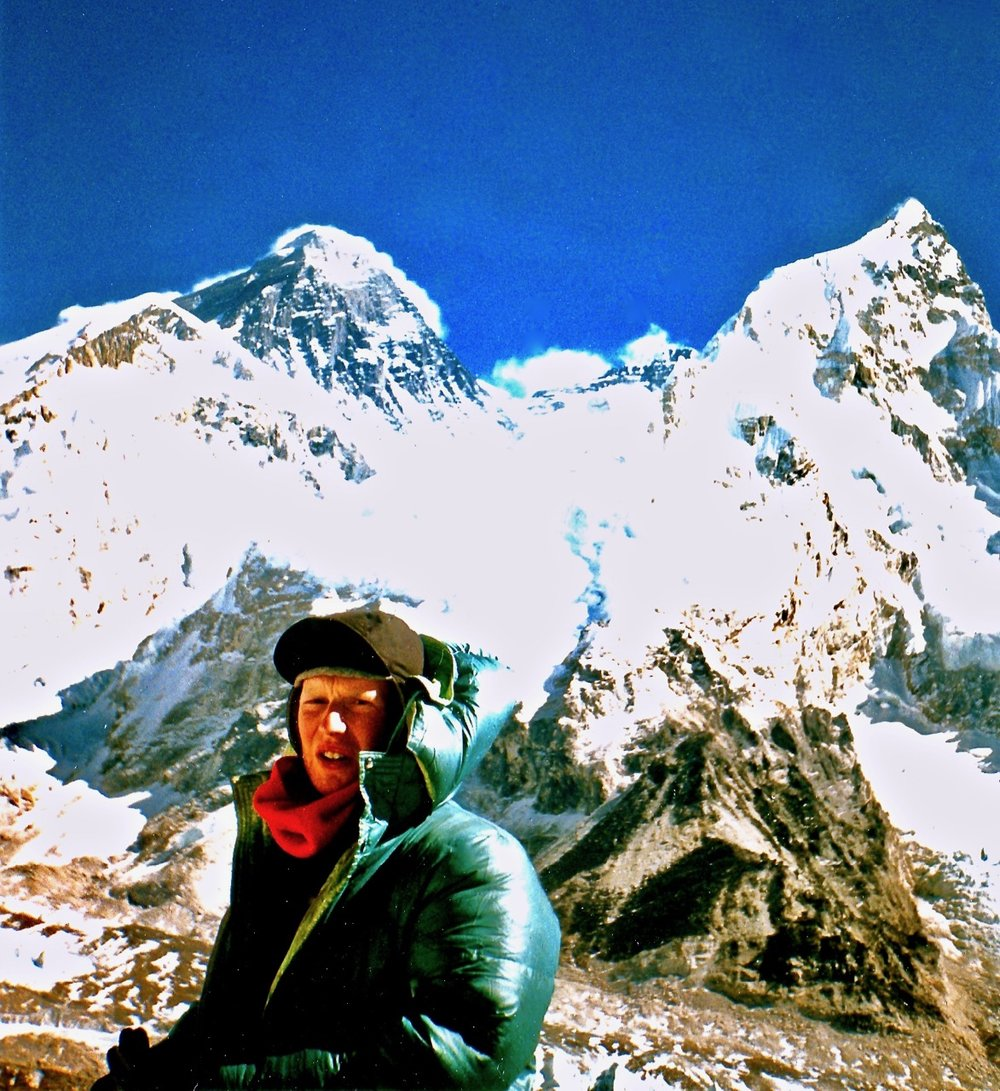 On the shoulders of Everest... this was taken in 1998 at the summit of Kala Patthar (18,514ft) overlooking Everest Basecamp.