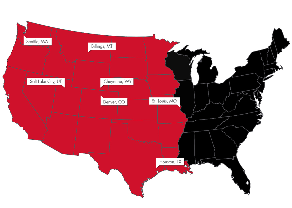 Map highlighting large suppliers Coelerici Coal Network works with in the Western United States