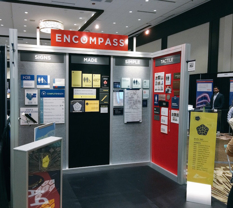 Pictured: Encompass Sign Systems at SEGD Conference NEXPO. June 10, 2016.