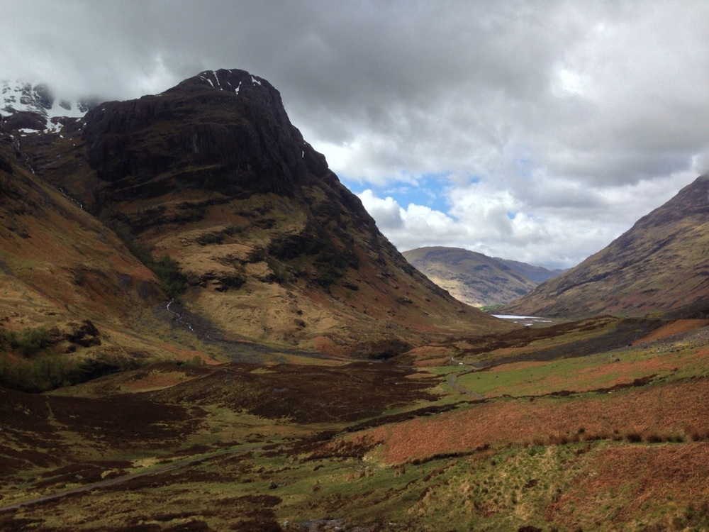 View looking toward character filled mountains from Glencoe