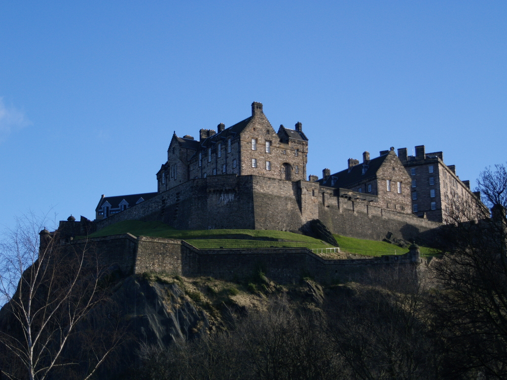 looking up towards Edinburgh's famous Castle