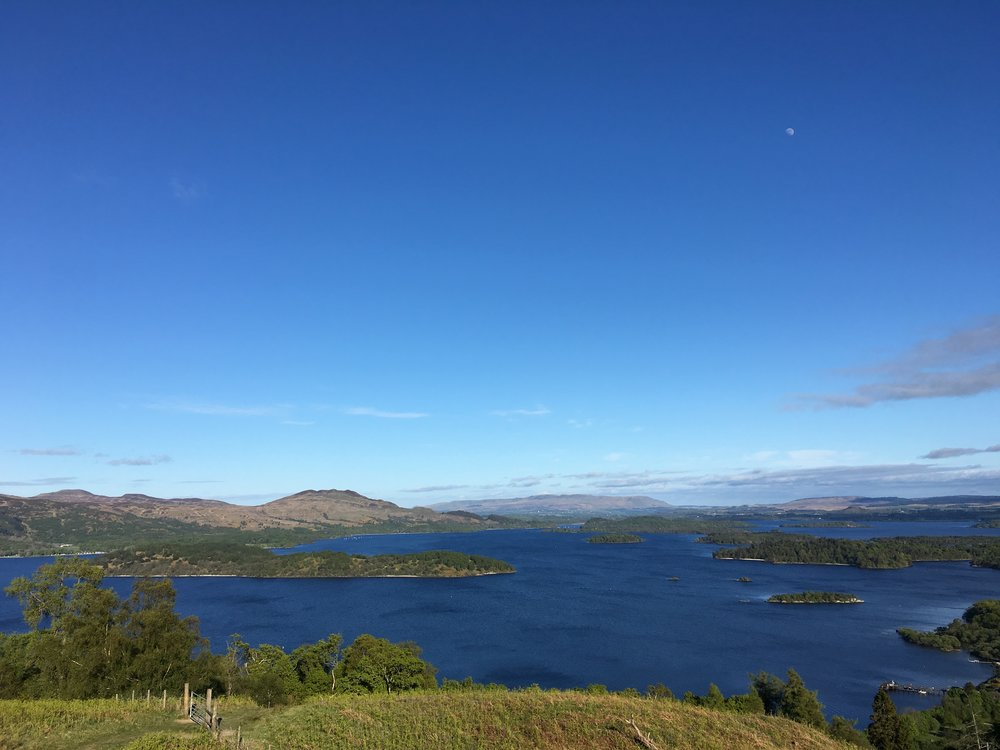 Looking across Loch Lomond and her Islands towards Conic Hill from the Western Shore