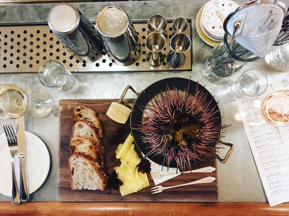 San Juan Island Sea Urchin alongside our Grey Salt Butter at L'Oursin