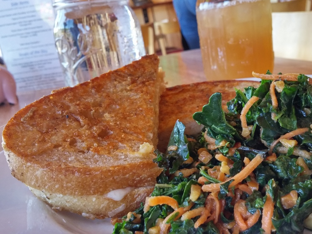 Parmesan Crusted Grilled Cheese with a side of the Garden Cafe's famous Kale Slaw