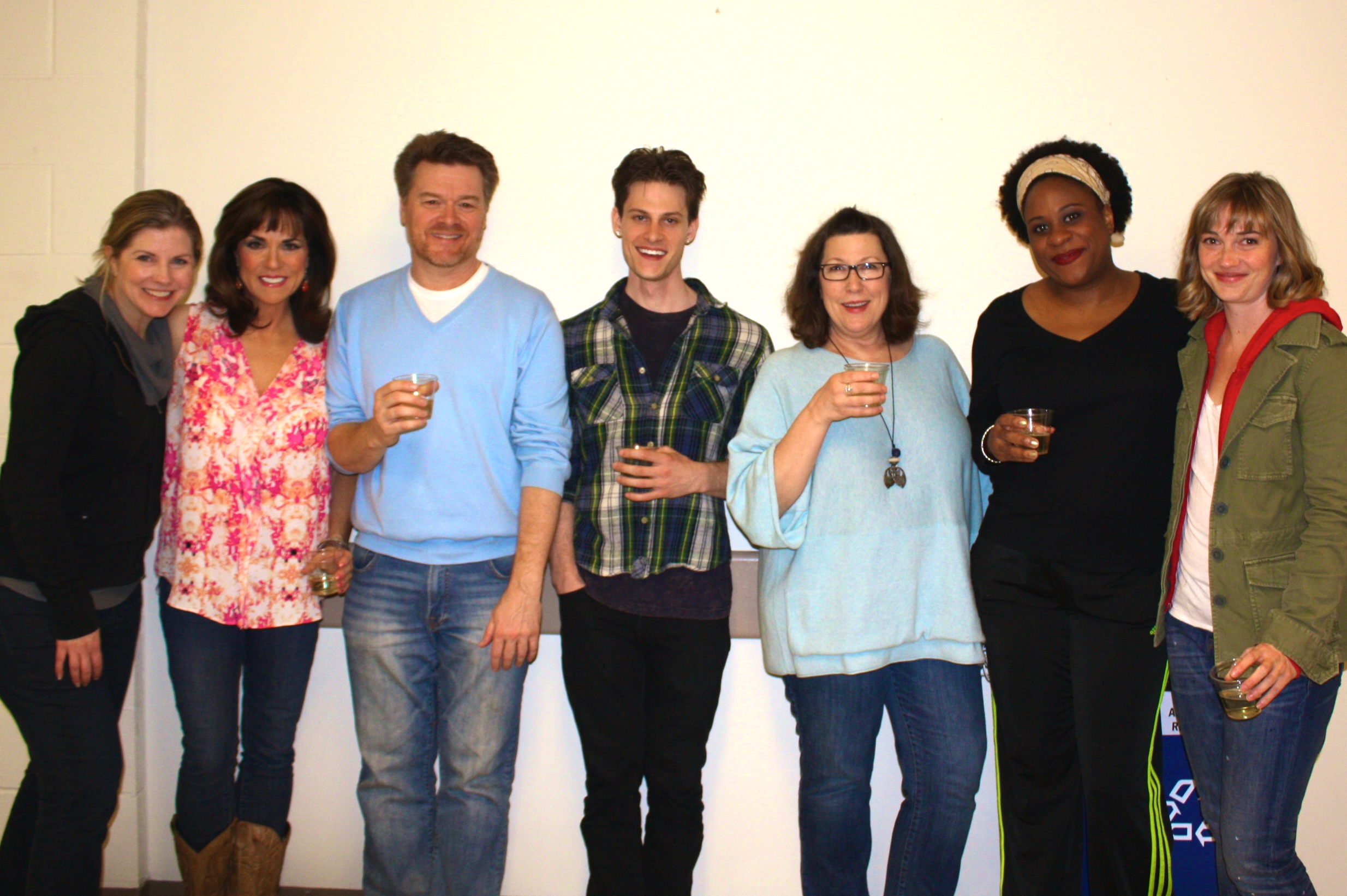 Left to right: Laura Kepley, Artistic Director of The Cleveland Playhouse, Margaret Reed (Masha), John Scherer (Vanya), Gregory Isaac Stone (Spike), Toni DiBuono (Sonia), Danielle Lee Greaves (Cassandra), and Maren Bush (Nina). Closing matinee farewell toast from the lovely and wonderful staff CPH staff. A great time was had by all of us because we were so very well taken care of. Thank you, you Tony Award winners!!! April 26, 2015.