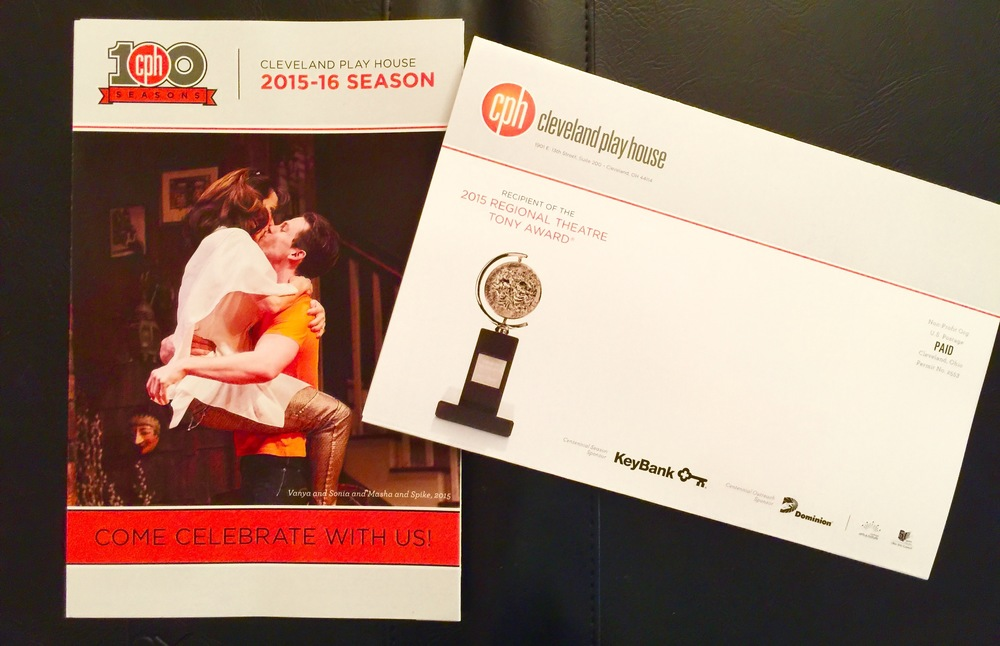 Margaret Reed as Masha and Gregory Isaac Stone on the cover The Cleveland Play House's unprecented 100th Season brochure. 2015 Regional Theatre Tony Award winners.