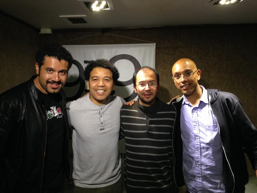 Doug Beavers, Luisito Quintero, Jaime Rodriguez & Camilo Suárez at Javeriana Estereo 91.9 Radio Studios
