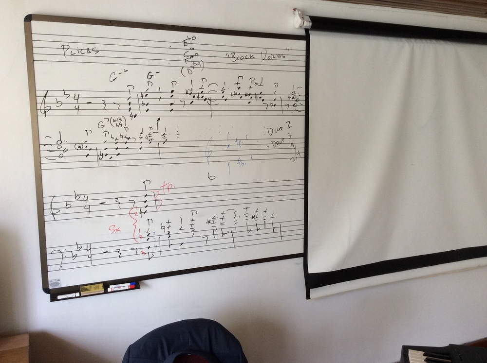 Arranging workshop, day 2.  Using a Nelson Riddle transcribed excerpt to demonstrate block voicing arranging technique