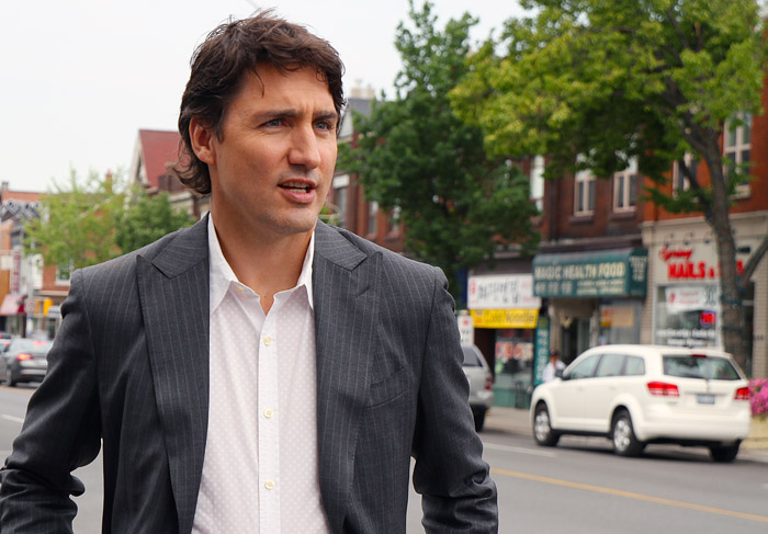 Justin Trudeau campaigning during the spring of 2014.   (Photo by Alex Guibord; some rights reserved)