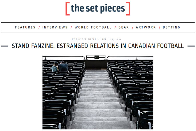 Estrange relations in Canadian football — STAND (and The Set Pieces)