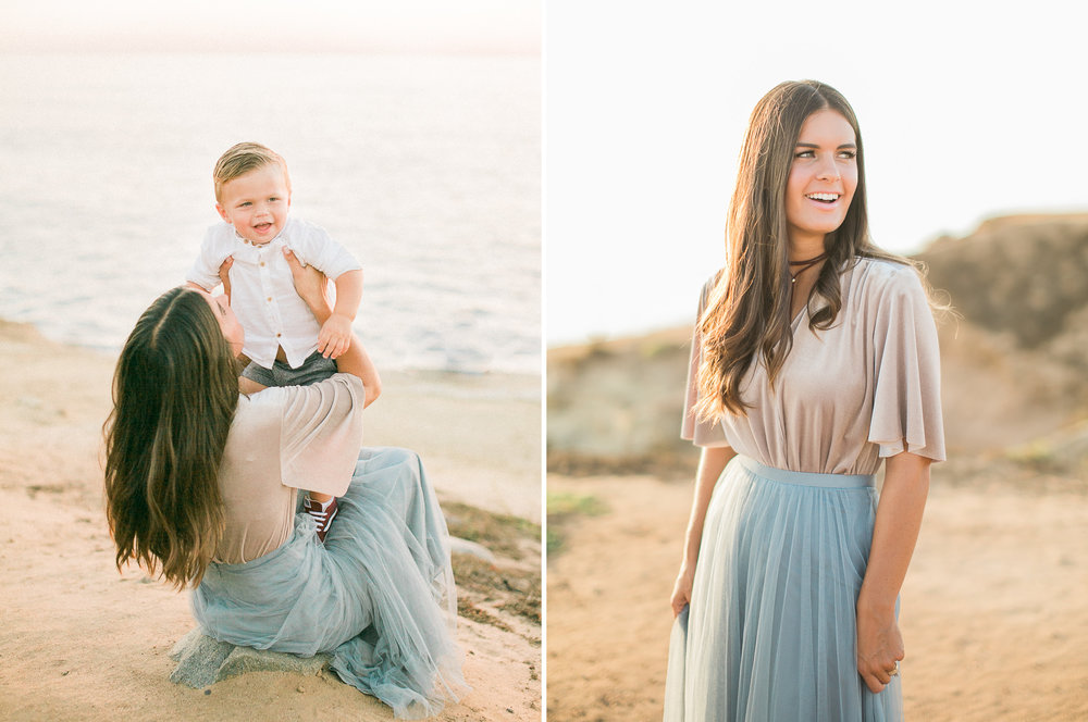 fine art film photography San Diego - beach family photos BHLDN fashion