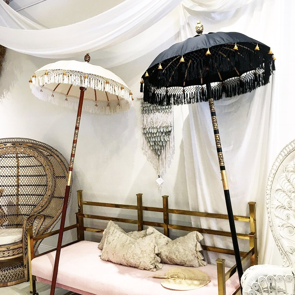 Shop One of a Kind Handmade Items in Our Home Section - Pictured: Handmade 3ft Bali Umbrellas in Noir / Natural