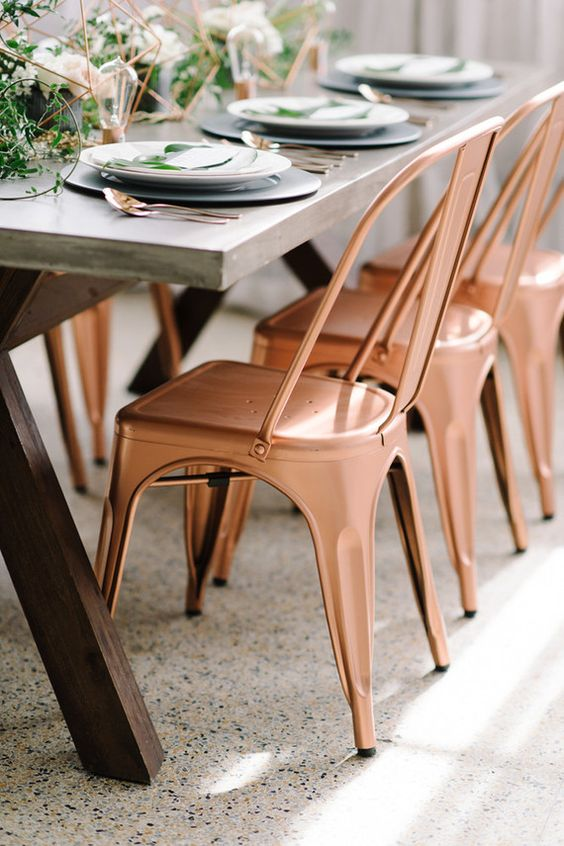 copper wedding chairs rose gold charis