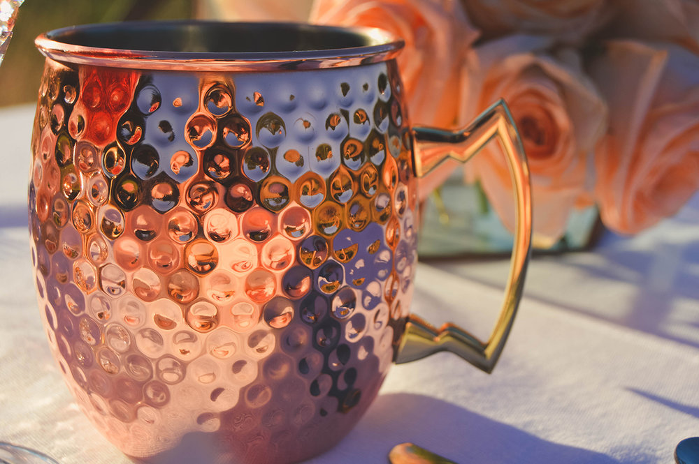 copper wedding copper moscow mule wedding
