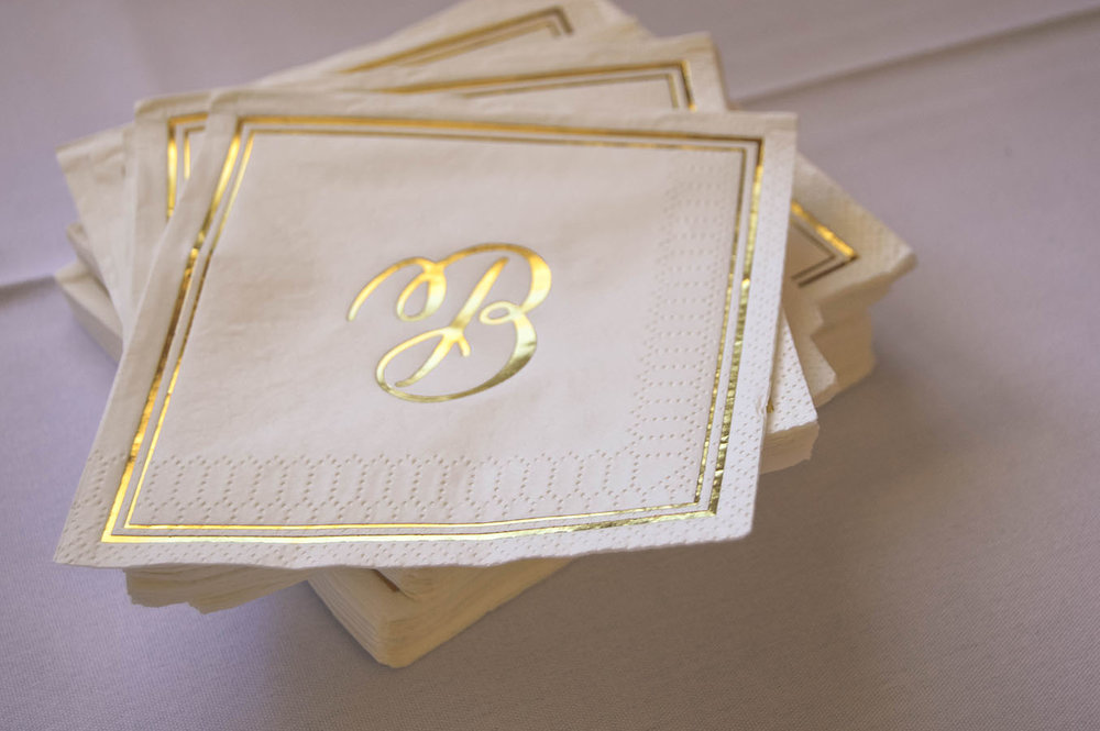 gold wedding white gold wedding decor calligraphy beverage napkins wisconsin madison, wi