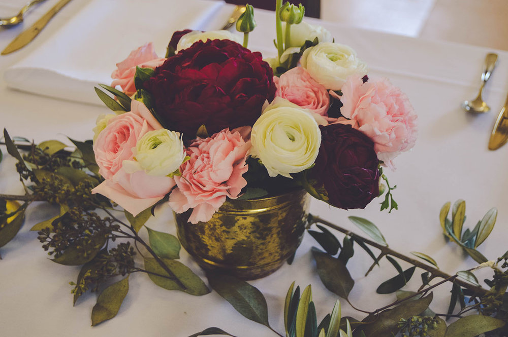pink marsala floral wedding flowers