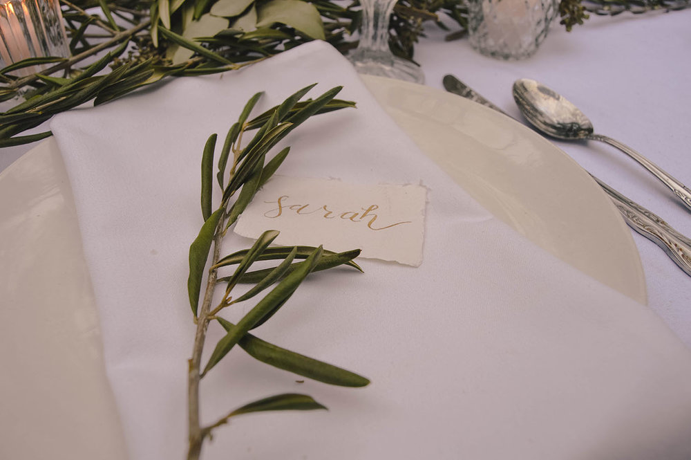 white greenery wedding