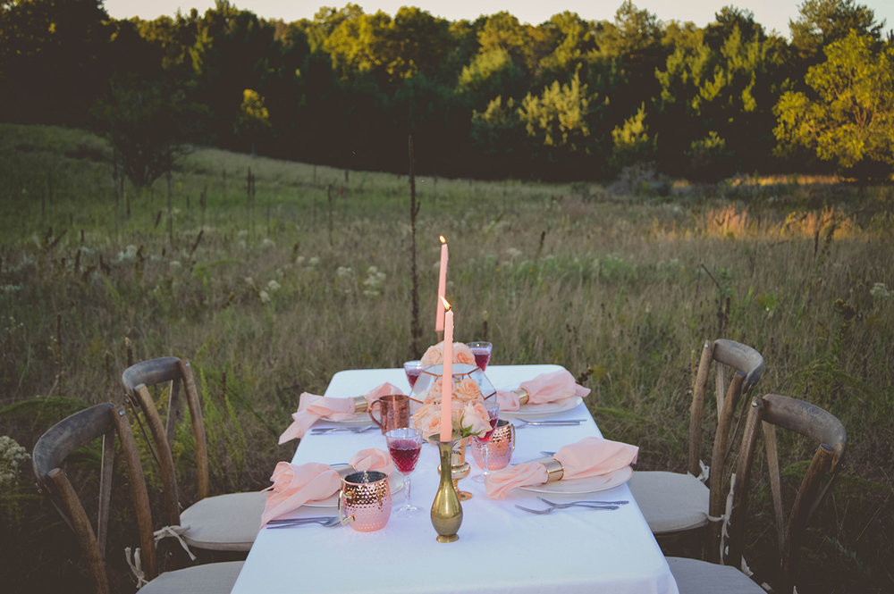 - ROSE GOLD WEDDING IN A FIELD