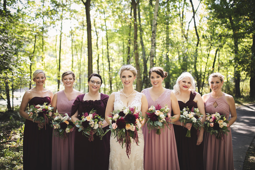vibrant whimsical fall wedding tones colors, marsala burgundy blush mix and match bridesmaid dresses wisconsin