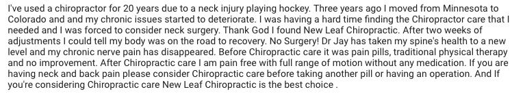 Longmont Neck Surgery alternatives