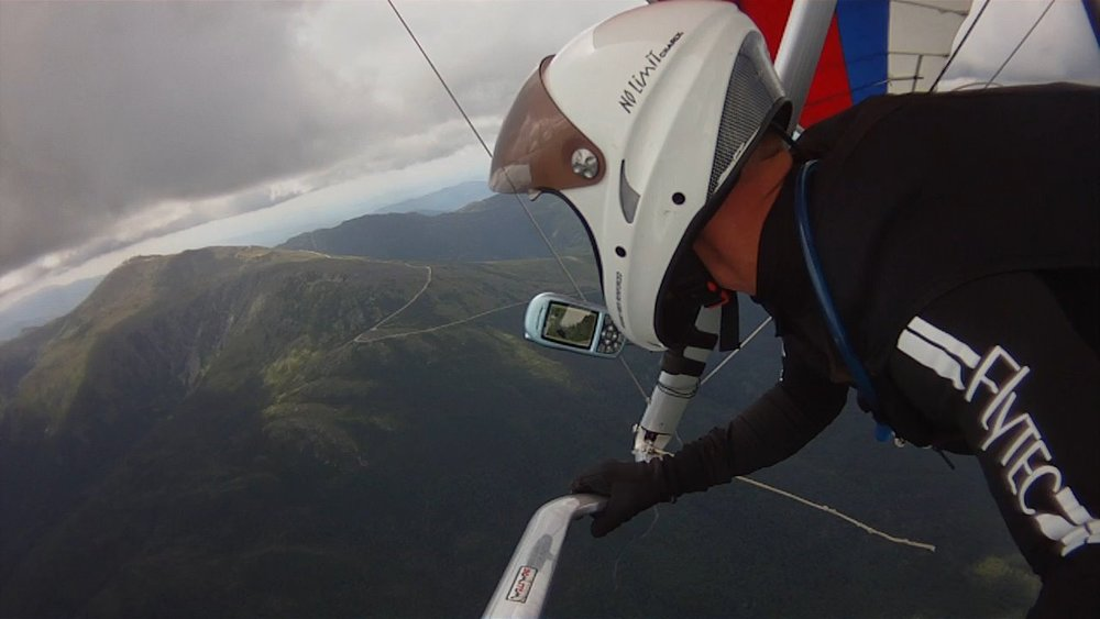 Scraping clouds - overlooking Mt Washington in New Hampshire from my Hang-Glider @ 7000 ft (2136m). My favorite flight.