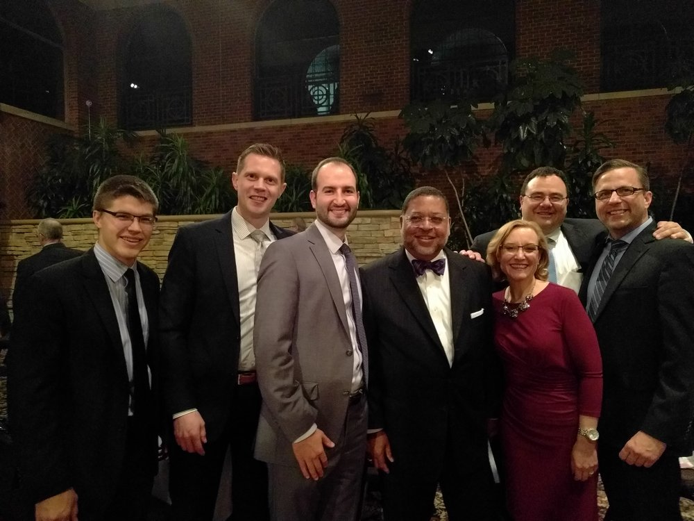 November 10, 2016  - Darrow Mustafa attorneys meet with members of the Michigan Supreme Court (from left to right:  Frank Dame, law clerk to U.S. District Court Judge Bernard Friedman; Christopher Roelofs; Ryan Carnago; Justice Robert Young; Justice Joan Larsen; Christopher Darrow; and Mark Zylka).    Chief Justice Robert Young and Justice Joan Larsen, of the Michigan Supreme Court, are currently under consideration for nomination by President-elect Trump to the United States Supreme Court.