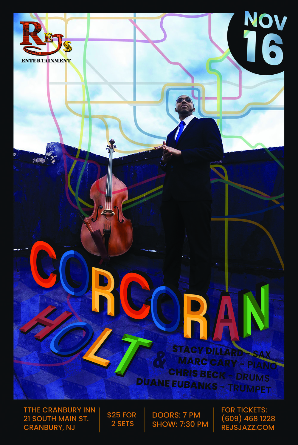"Corcoran Holt - November 16, 2018As a keeper of the rhythm, Corcoran began his study of upright bass at the age of 10 with the renowned DC Youth Orchestra (DCYOP). Soon he learned that his great- grandfather, with whom he shares a birthday, was a bass player who grew up in High Point, NC and lived next door to a very young John Coltrane. Legend has it that he gave Trane music lessons. Corcoran feels called to the bass and his work is about honoring the ancestors.Currently, Corcoran leads his own group and is the regular bassist in the Kenny Garrett Quintet, which received a Grammy nomination for the 2013 recording ""Pushing the World Away"" recorded on Mac Avenue Records.Corcoran also works with numerous bands throughout the world and he is based in NYC and also serves as a djembe drummer/music therapist at Greater Harlem Nursing and Rehabilitation Center, where he plays for his elders.Training Grounds & Career Blessingshttps://www.corcoranholt.com/bio"