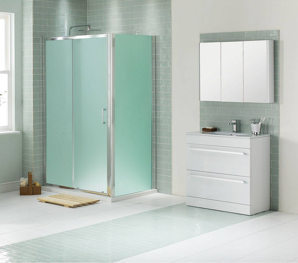 Frosted Glass Doors Bathroom